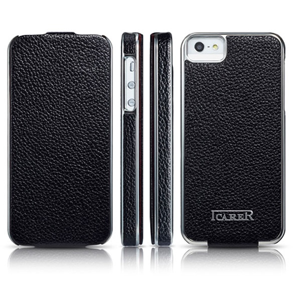 Leder-Flip-Tasche-fuer-Apple-iPhone-5-5S-Case-Handy-Huelle-Schale-Etui-Cover-Black