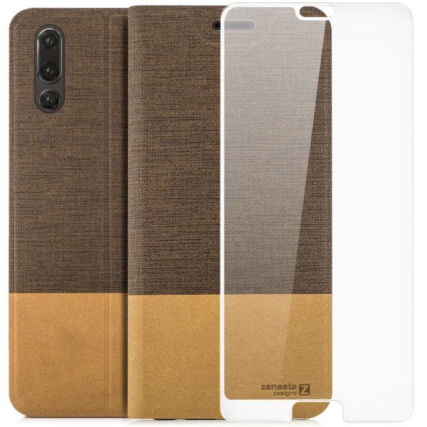 Kunstleder Slim Tasche für Huawei P20 - Hellbraun + FC Glas W