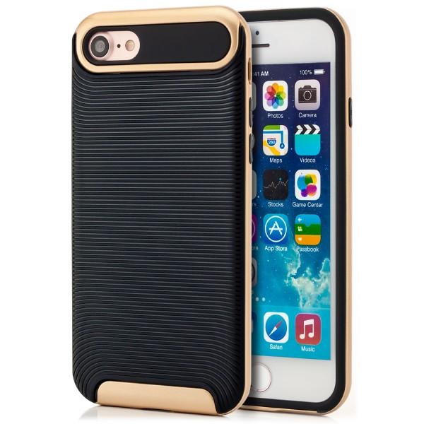 """AR-Silikon Typ 2 Case für Apple iPhone 8 / 7 (4,7"""") - Schwarz-Gold"""