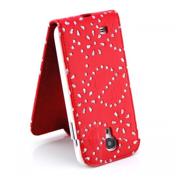 Strass Flip Case für Samsung Galaxy S4 Rot