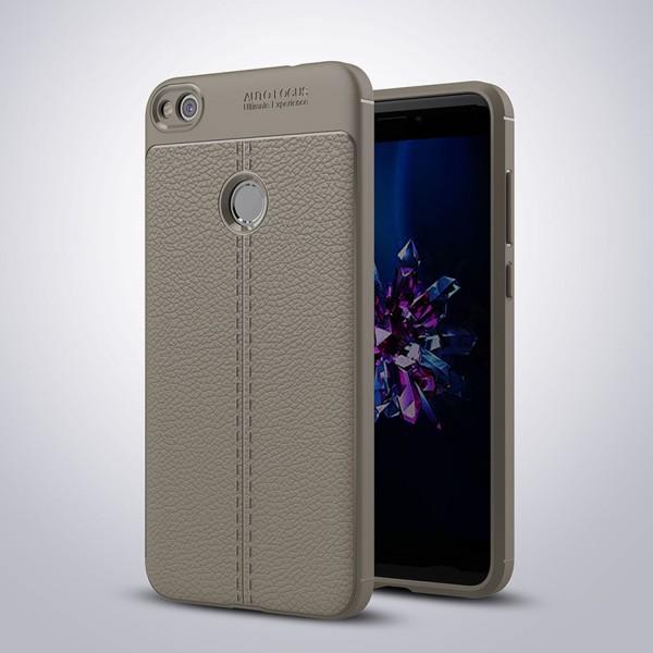 Litchi Soft Back Cover für Huawei P8 Lite (2017) - Grau