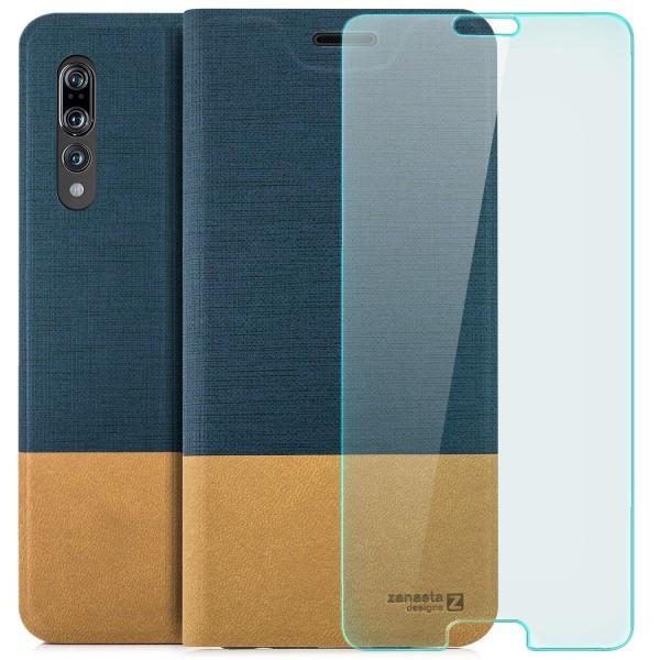 Kunstleder Slim Tasche für Huawei P20 Pro - Blau + CURVED GLAS T