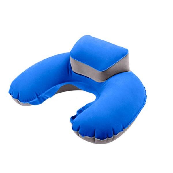 Aufblasbares Nackenkissen mit Kopfpolsterung - Blau