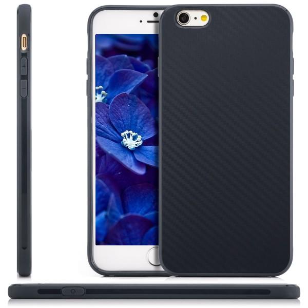 "Silikon Carbon Back Cover für Apple iPhone 6 / 6S Plus (5,5"") - Dunkelblau"