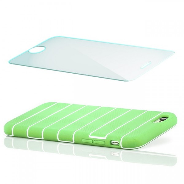 Streifen Silikon Back Cover für Apple iPhone 6 & 6S (4,7) Grün + Panzerglas