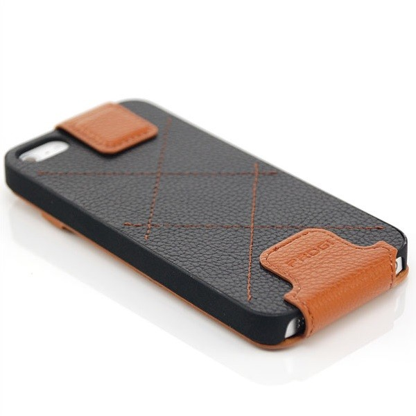 Progi Flip Case für Apple iPhone 5 & 5S Braun-Schwarz