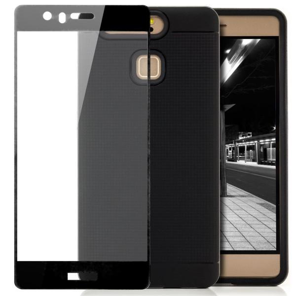 AR-Silikon Back Cover für Huawei P9 - Schwarz-Dunkelblau + FC Glas S