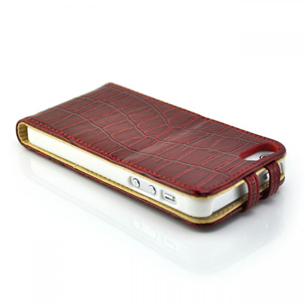 Kroko Flip Case für Apple iPhone 5S & 5 Rot