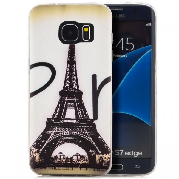 Silikon Motiv Case 2 für Samsung Galaxy S7 edge - Eiffel tower