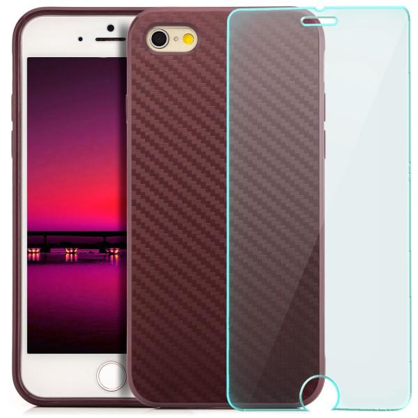 "Silikon Carbon Back Cover für Apple iPhone 6 / 6S (4,7"") - Lila + GLAS"