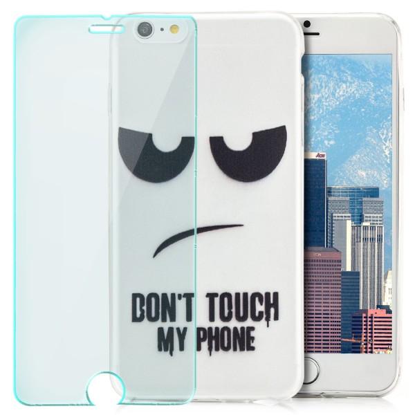 Silikon Motiv Case für Apple iPhone 6 / 6S Plus - Dont Touch my Phone 2 + GLAS