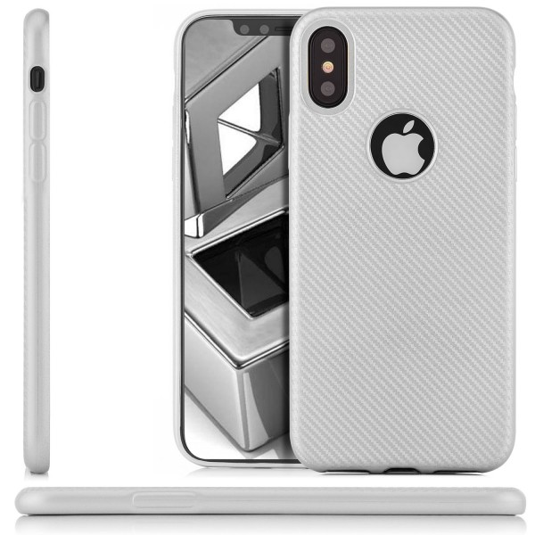 Silikon Metallic Carbon Case für Apple iPhone X - Silber