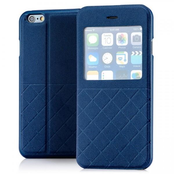 Grid Flip View Case für Apple iPhone 6 & 6S (4,7) Blau -MF-