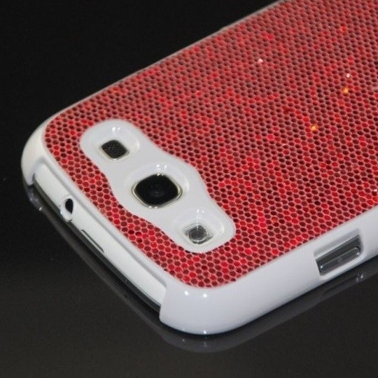 Glitzer Back Cover für Samsung Galaxy S3 Rot