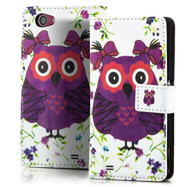 Owl Handytasche für Sony Xperia Z1 Compact Weiß-Violett