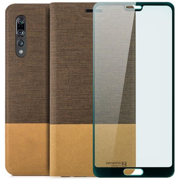 Kunstleder Slim Tasche für Huawei P20 Pro - Hellbraun + FC Glas S