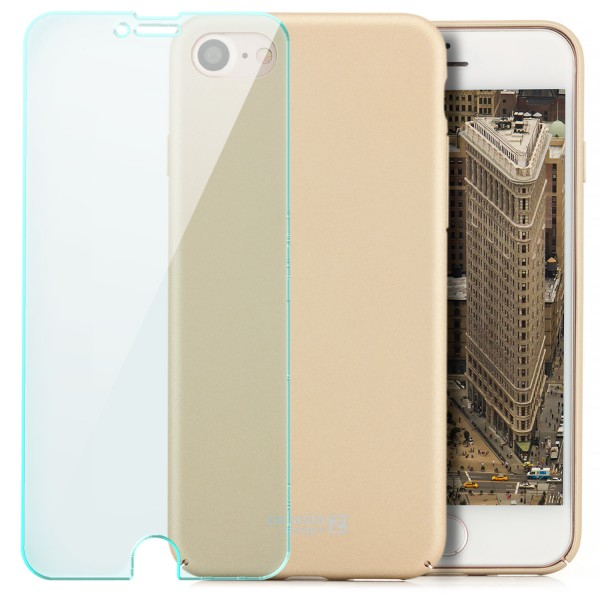 """Simple Hard Back Cover für Apple iPhone 8 / 7 (4,7"""") - Gold + GLAS"""