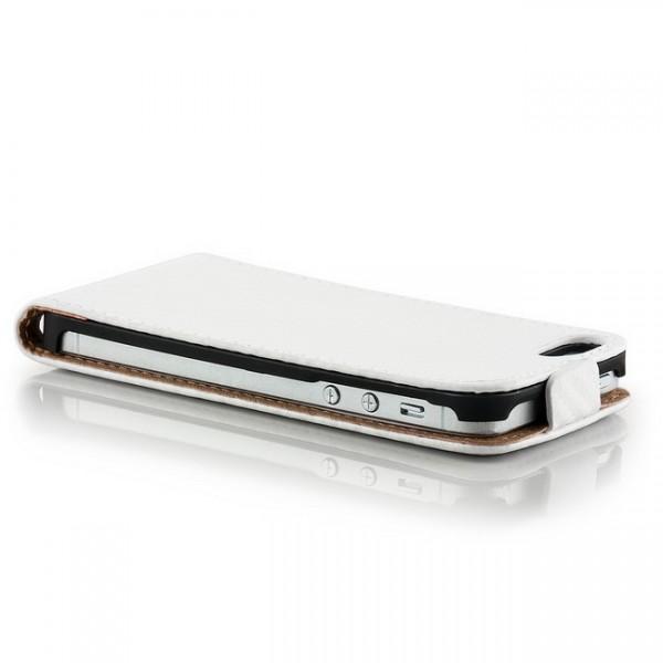 Carbon-Look Flip Case für Apple iPhone 5 & 5S Weiß