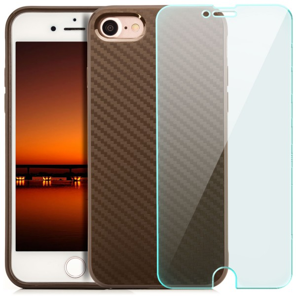 "Silikon Carbon Back Cover für Apple iPhone 8 / 7 (4,7"") - Braun + GLAS"