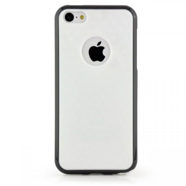 TPU Diamond Back Cover für Apple iPhone 5C Weiss-Schwarz -MF-