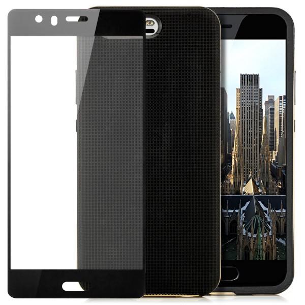 AR-Silikon Back Cover für Huawei P10 - Schwarz-Gold + FC Glas S