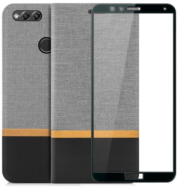 Kunstleder Streifen Tasche für Huawei Honor 7X - Grau + FC Glas S