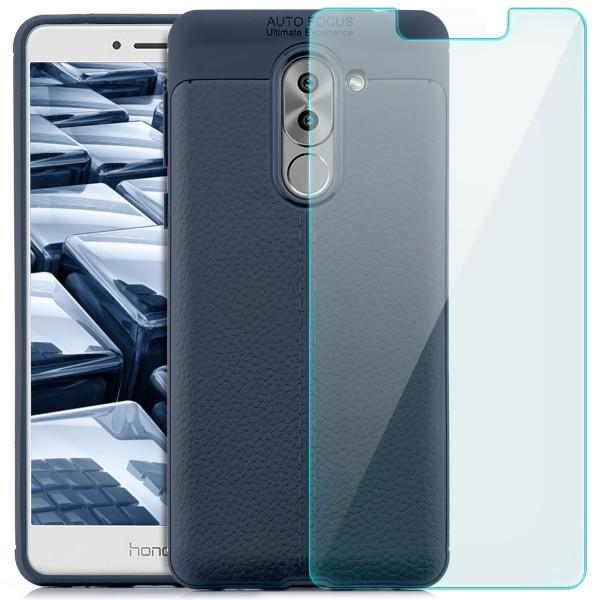 Litchi Soft Back Cover für Huawei Honor 6X - Blau + GLAS