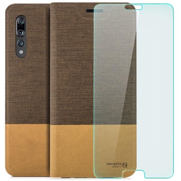 Kunstleder Slim Tasche für Huawei P20 Pro - Hellbraun + CURVED GLAS T