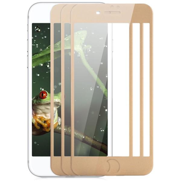 """3x Full Cover Displayschutzglas für Apple iPhone 8 / 7 Plus (5,5"""") - Gold"""