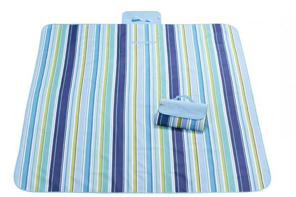 XXL Outdoor Decke - Streifen Blau-Grün-Schwarz-Weiß
