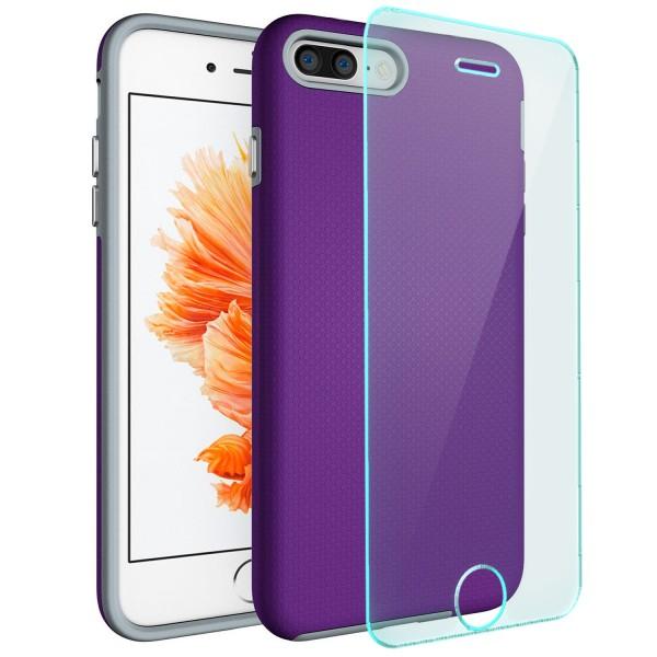 "Hybrid Case für Apple iPhone 8 / 7 (4,7"") - Lila + GLAS"