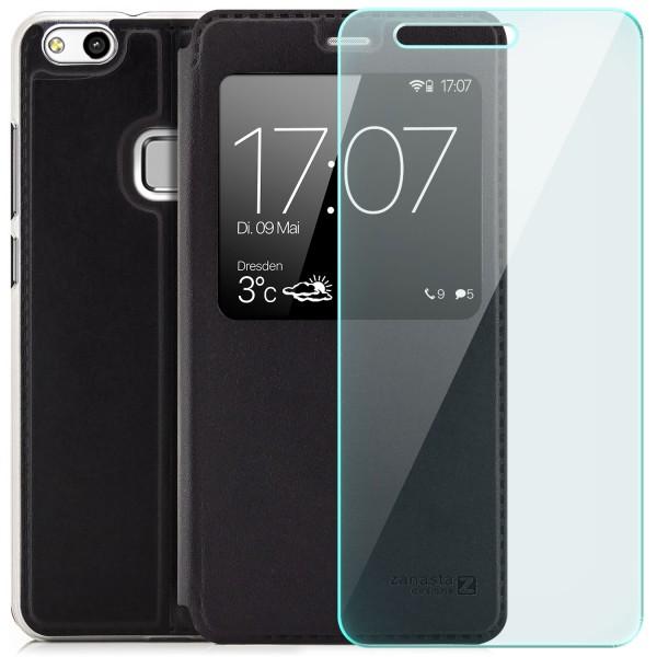 Kunstleder View Case für Huawei P10 Lite - Schwarz + GLAS