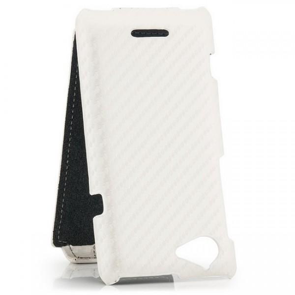 Carbon-Look Flip Case für Sony Xperia L S36H weiß