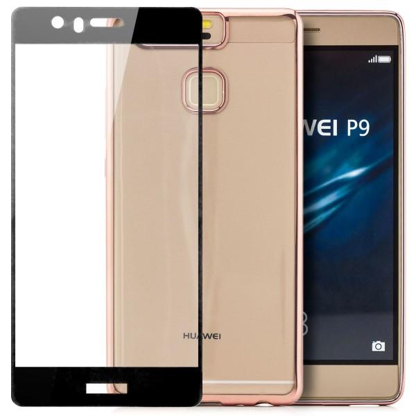 Farbrand Silikon Case für Huawei P9 - Rosa + FC Glas S