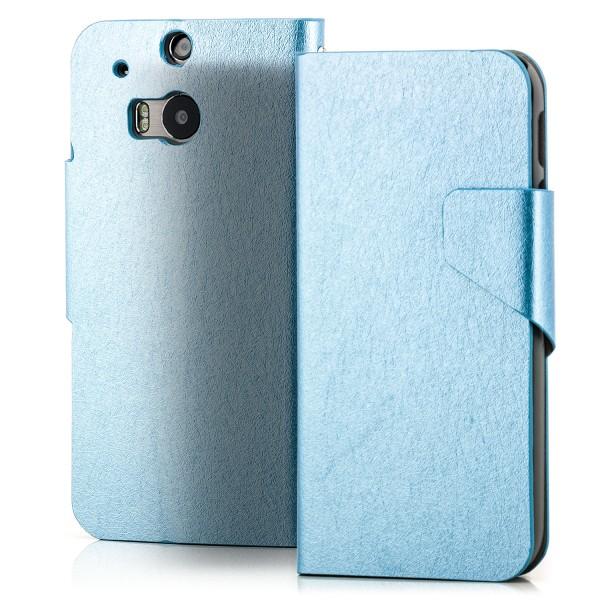 Slim Handytasche mit Magnetverschluss für HTC One M8 Hellblau