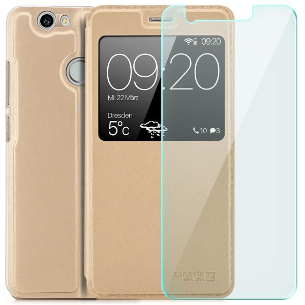 Kunstleder View Case für Huawei Nova - Gold + GLAS