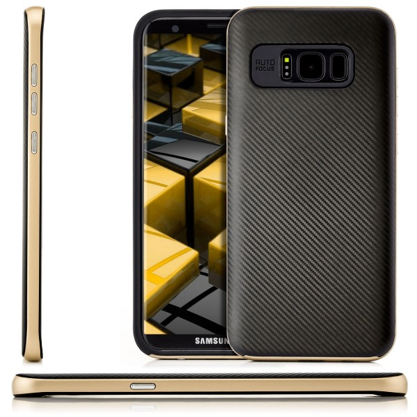 Carbon Style Back Cover für Samsung Galaxy S8 Plus - Gold