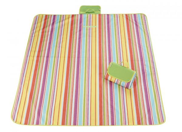 XXL Outdoor Decke - Streifen Gelb-Lila-Blau-Orange-Grün