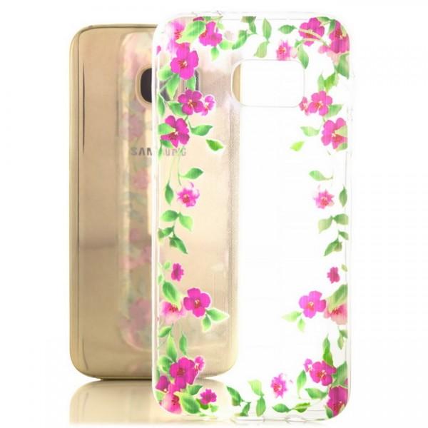 Silikon Motiv Case für Samsung Galaxy S7 - Lila Blumen