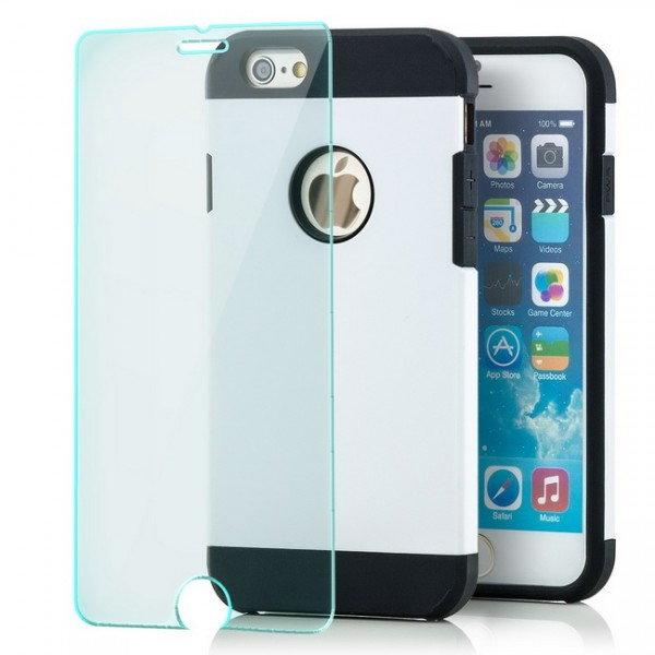 Combo Case für Apple iPhone 6 & 6S (4,7) Weiß + Panzerglas
