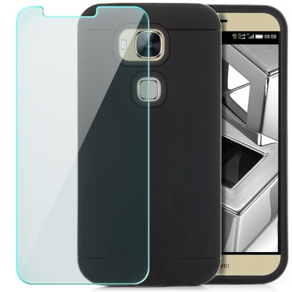AR-Silikon Back Cover für Huawei G7 Plus - Schwarz-Silber + GLAS