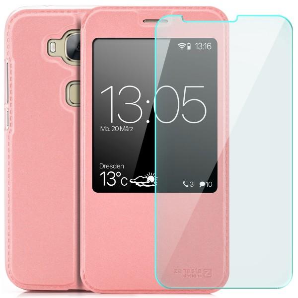 Kunstleder View Case für Huawei GX8 (G8) - Rosa + GLAS