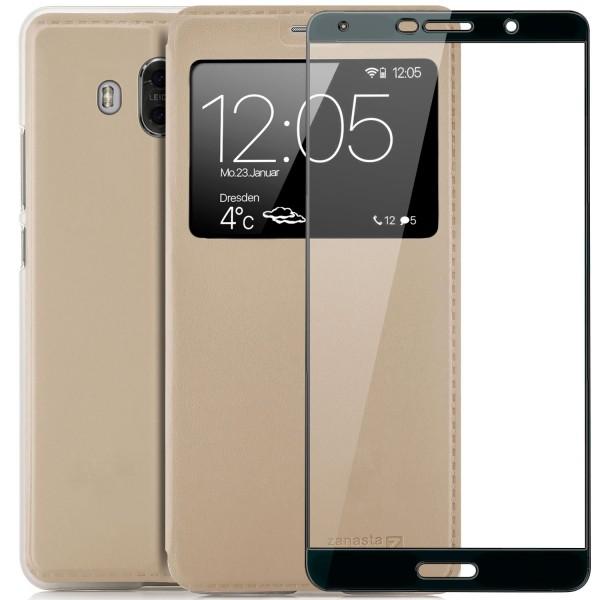 Kunstleder View Case für Huawei Mate 10 - Gold + FC Glas S