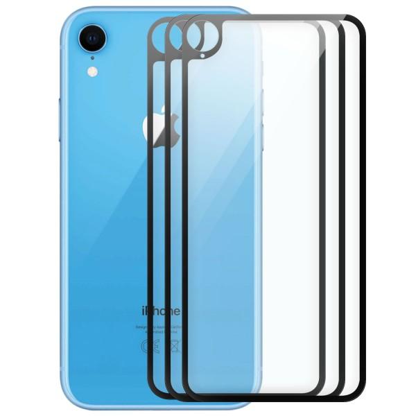 """3x Full Cover Rückseitenglas für Apple iPhone XR (6,1"""") - Schwarz"""