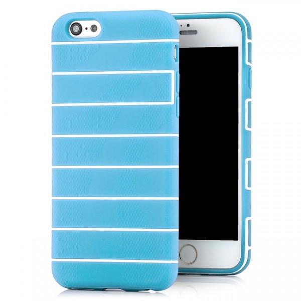 Streifen Silikon Back Cover für Apple iPhone 6 & 6S (4,7) Blau -MF-