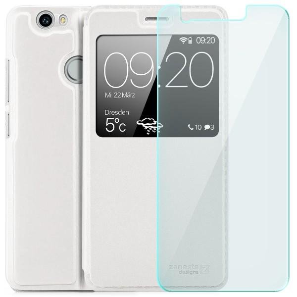 Kunstleder View Case für Huawei Nova - Weiß + GLAS
