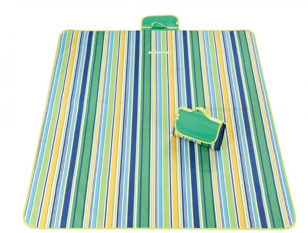 XXL Outdoor Decke - Streifen Blau-Grün-Gelb-Weiss