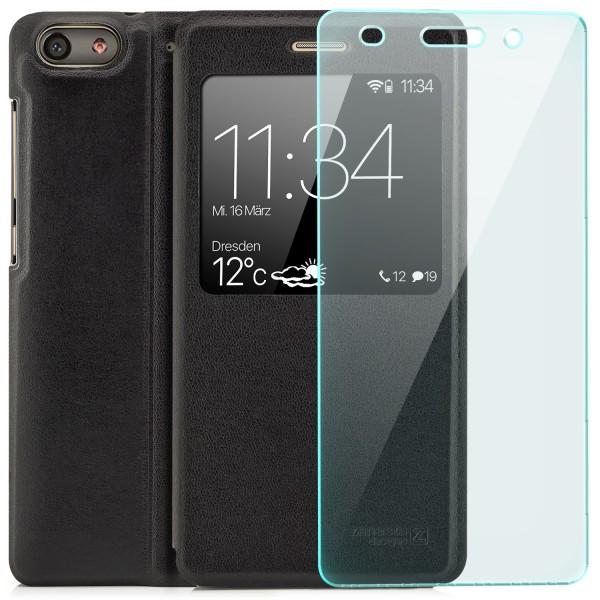Kunstleder View Case für Huawei G Play Mini - Schwarz + GLAS