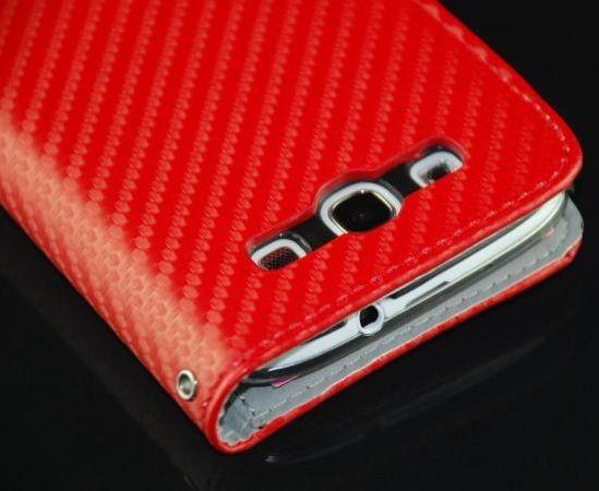 Carbon-Look Schutztasche für Samsung Galaxy S3 Rot