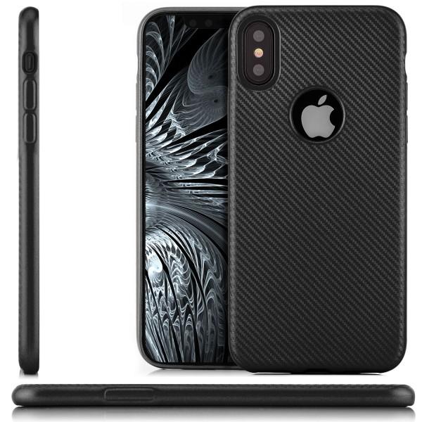 Silikon Metallic Carbon Case für Apple iPhone X - Schwarz